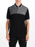 Fred Perry Houndstooth Panel Pique Polo Shirt in Black