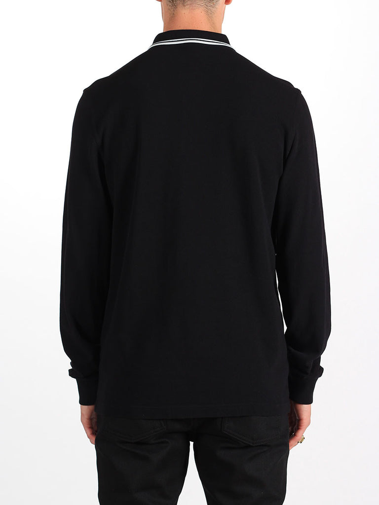 Fred Perry Longsleeve Twin Tipped Shirt in Black and Porcelain