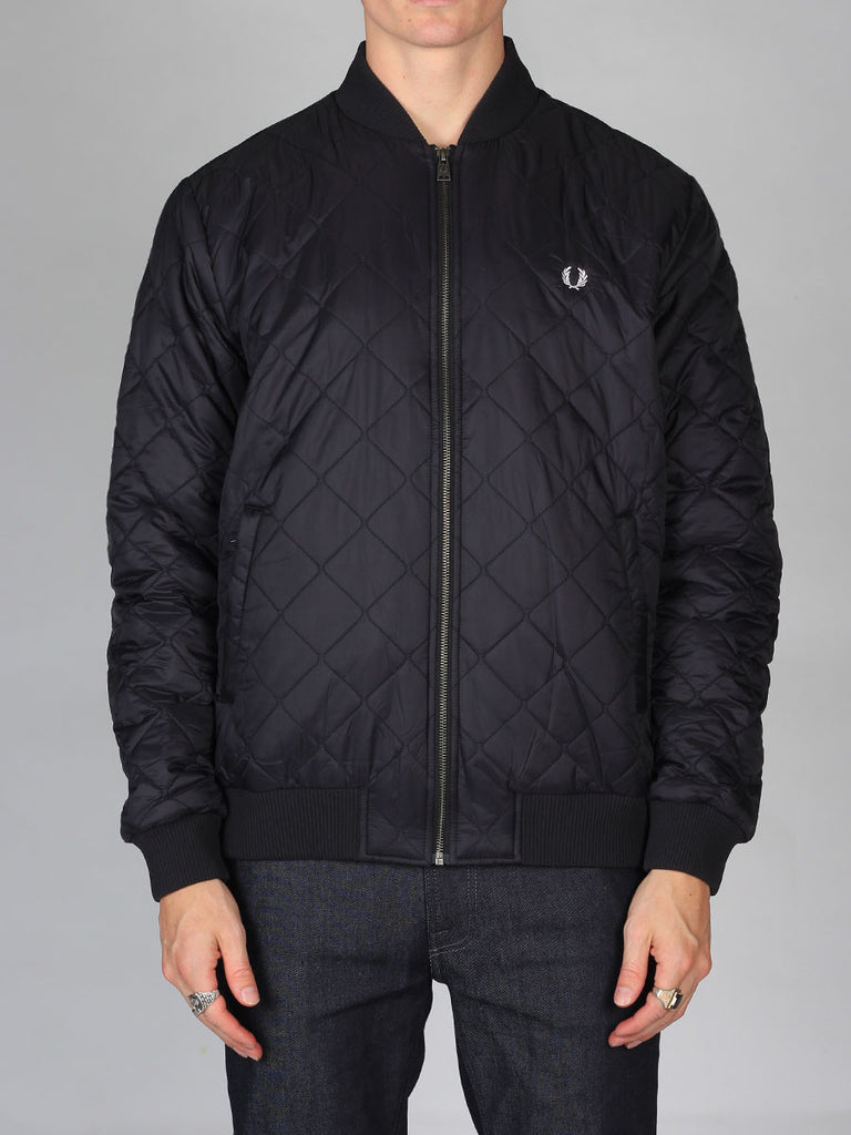 Fred Perry Quilted Bomber Jacket in Black