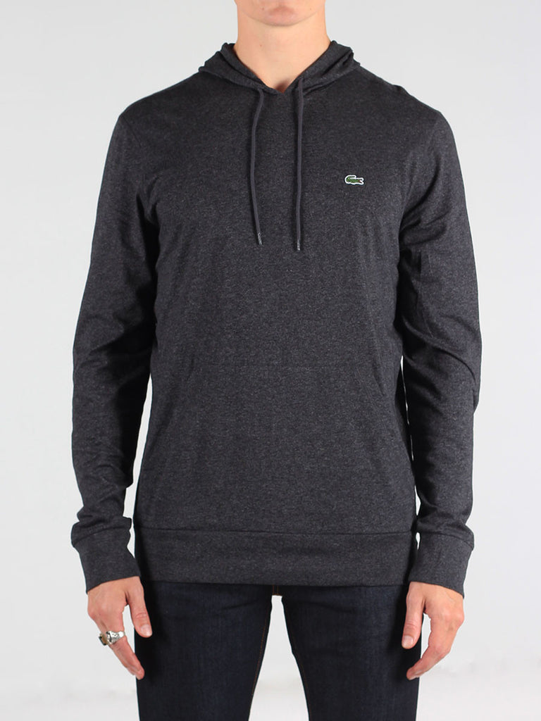 Lacoste Light-Weight Pull-Over Hoodie in Dark Grey