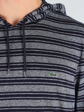 Lacoste Light-Weight Pull-Over Hoodie in Navy Pinstripe