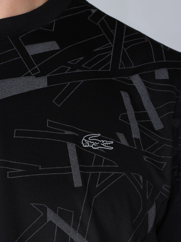 Lacoste Sport Tennis Print Stretch Jersey T-Shirt in Reflective Black