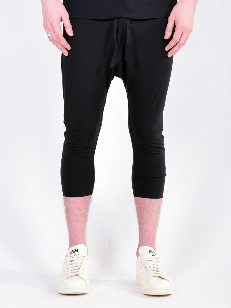 Workshop Ultra Soft Bamboo Cropped Drop Crotch Drawstring Pants in Black