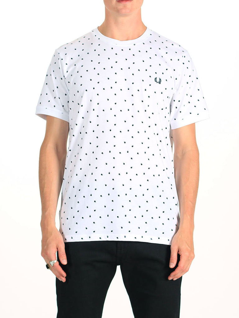Fred Perry Shadow Polka Dot T-Shirt in White