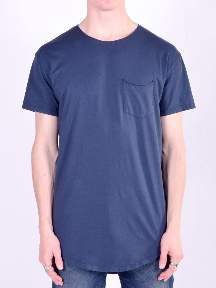 Workshop Premium Scoop Baseball Short Sleeve T-Shirt in Navy