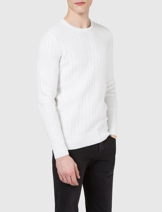 J Lindeberg Collino Cable Knit Sweater in Off White  - 1