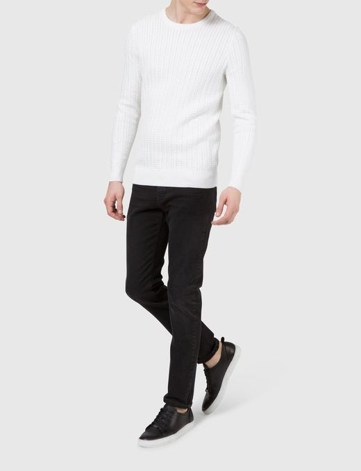 J Lindeberg Collino Cable Knit Sweater in Off White  - 3