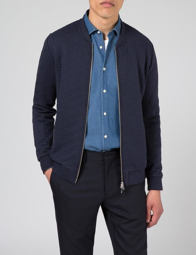 J Lindeberg Randall Quilt Jersey Zip Cardigan in Midnight Blue  - 1