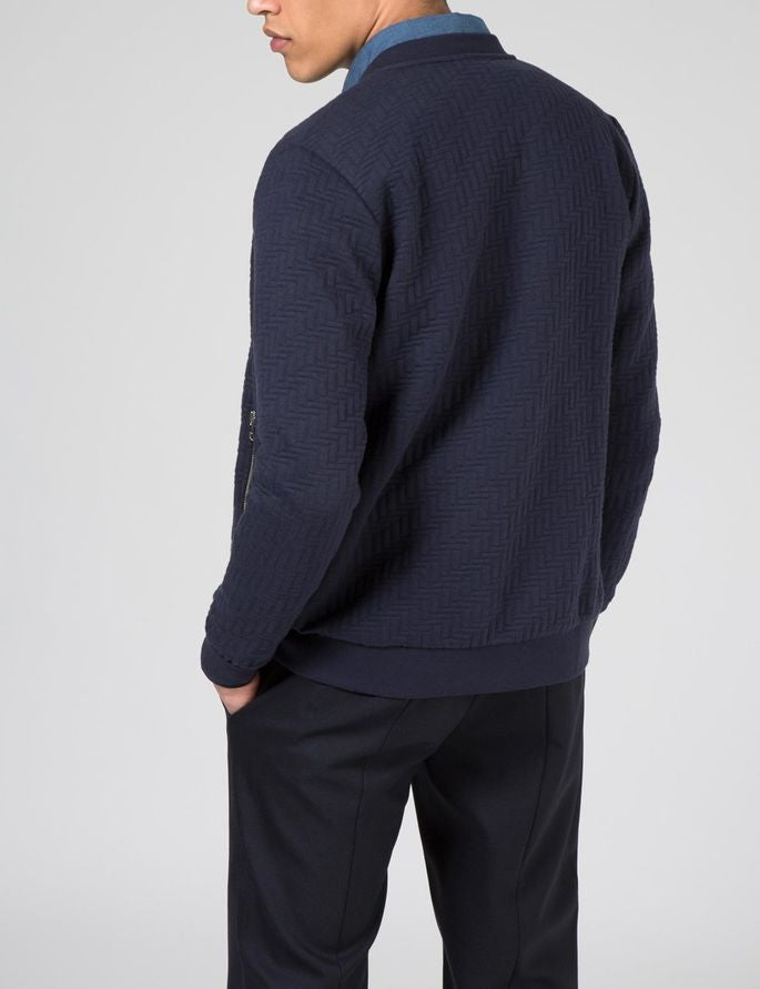 J Lindeberg Randall Quilt Jersey Zip Cardigan in Midnight Blue  - 2
