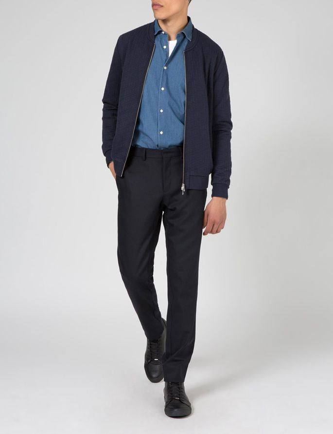 J Lindeberg Randall Quilt Jersey Zip Cardigan in Midnight Blue  - 3