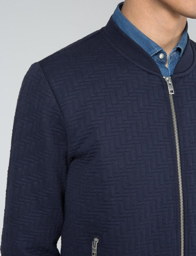 J Lindeberg Randall Quilt Jersey Zip Cardigan in Midnight Blue  - 4