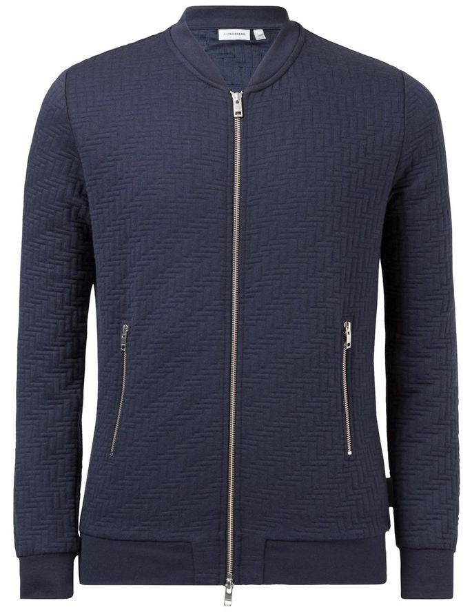 J Lindeberg Randall Quilt Jersey Zip Cardigan in Midnight Blue  - 5