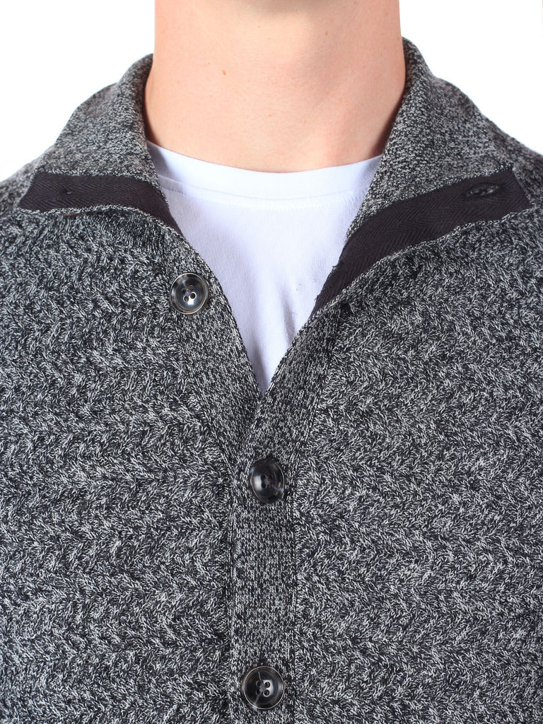 J Lindeberg Tommy Triangle Structured Cardigan in Grey Melange  - 5