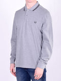 Fred Perry Twin Tipped Long Sleeve Polo Shirt in Steel Marle