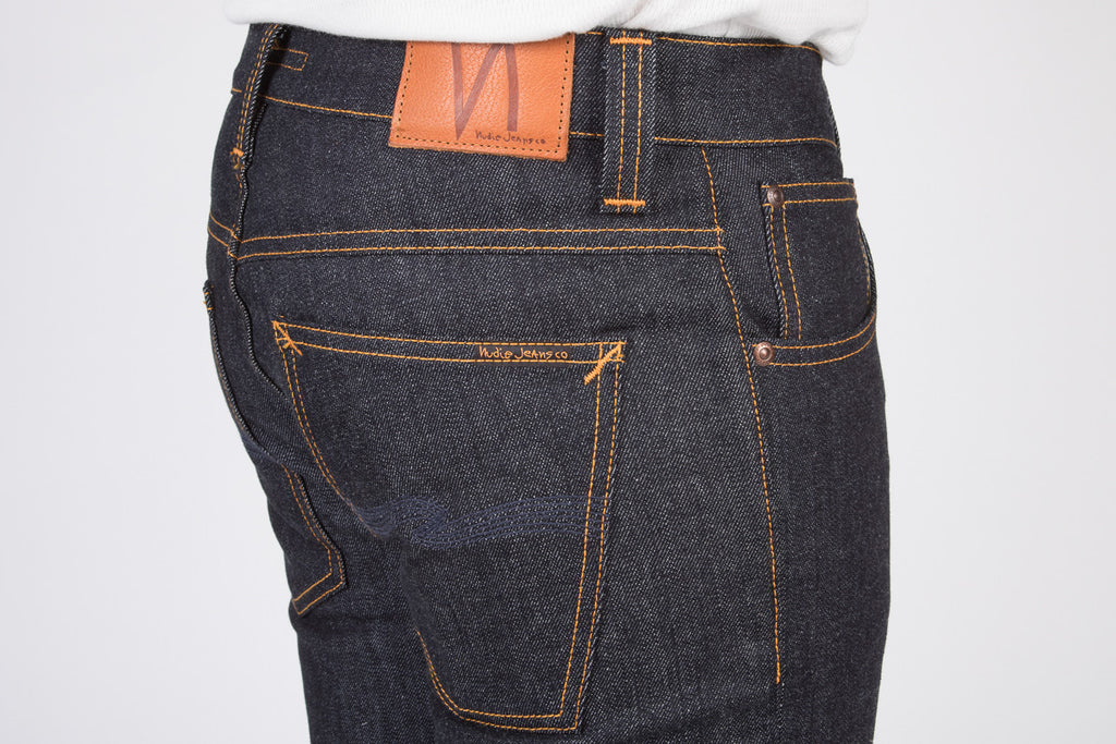 NUDIE GRIM TIM JEANS IN DRY NAVY RAW DENIM  - 4