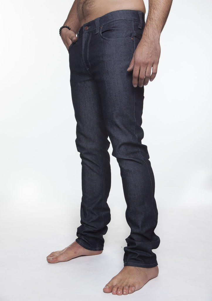 NUDIE THIN FINN JEAN IN ORGANIC DRY DARK GREY RAW DENIM  - 1