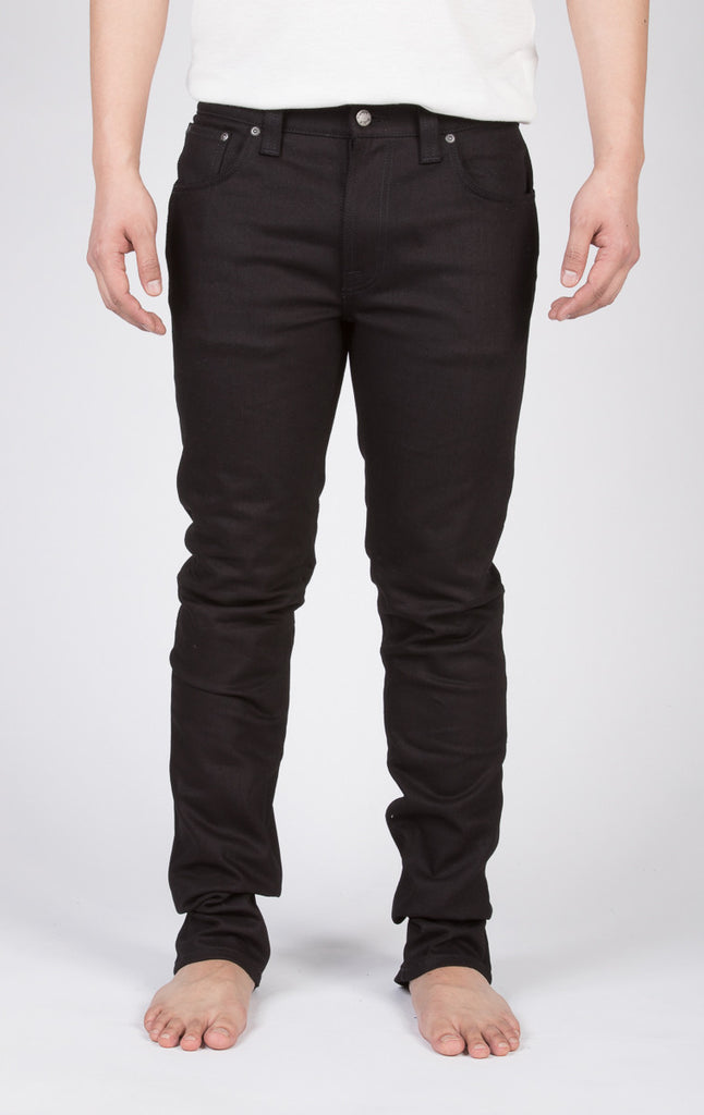 NUDIE THIN FINN SKINNY JEANS IN BLACK RING RAW DENIM  - 2