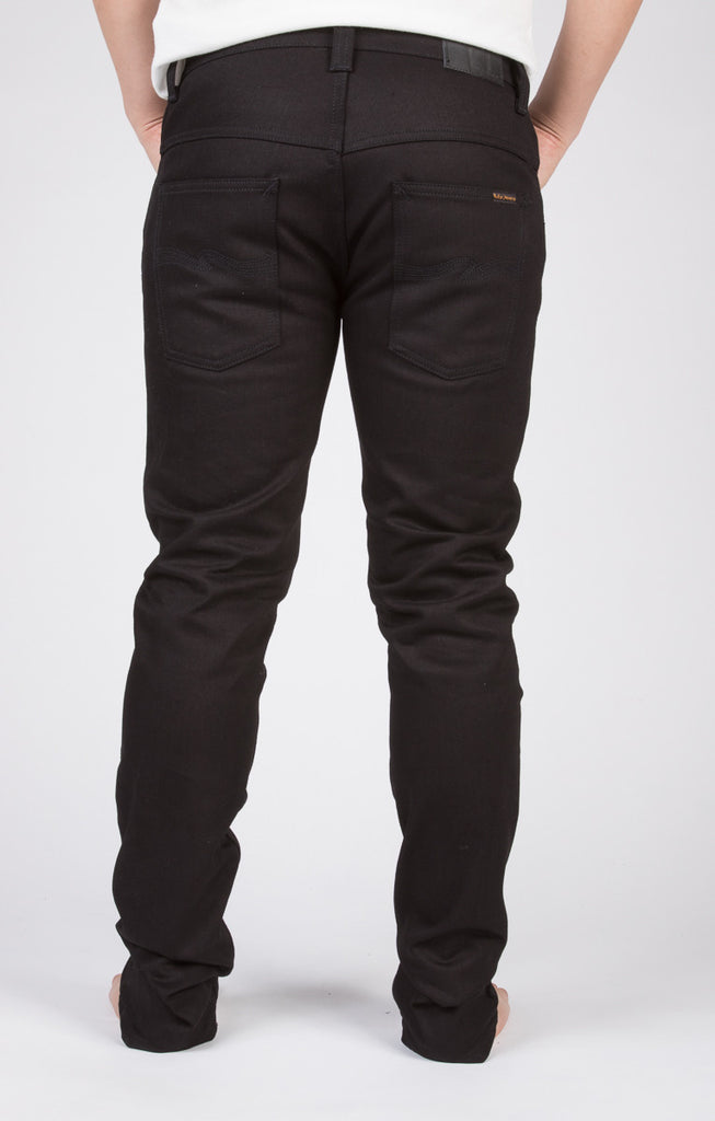 NUDIE THIN FINN SKINNY JEANS IN BLACK RING RAW DENIM  - 3