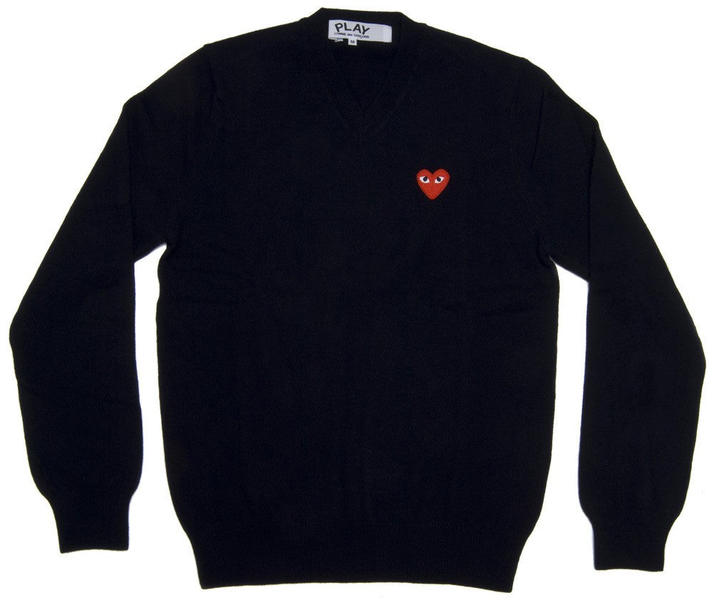 Comme Des Garcons Play V-Neck Sweater in Black with Red Heart