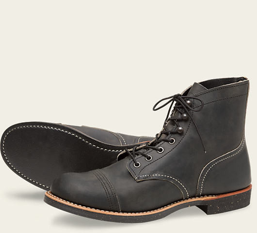 REDWING IRON RANGER BOOT IN CHARCOAL ROUGH AND TOUGH LEATHER
