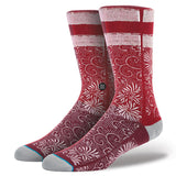 INSTANCE 'CASE' CASUAL 200 SOCKS IN RED FLORAL PATTERN