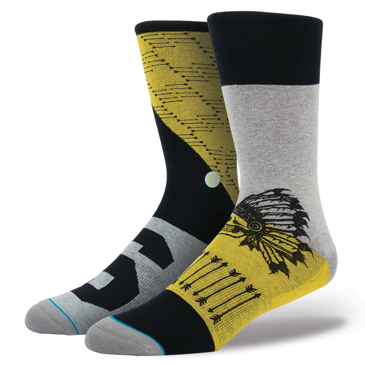 INSTANCE 'INDIANA' CASUAL 200 SOCKS IN YELLOW/GREY/BLACK