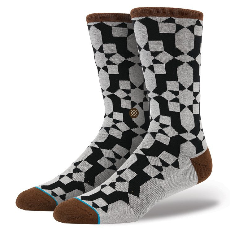 INSTANCE 'JOJO' CASUAL 200 SOCKS WITH BLACK/GREY/BROWN MOSAIC