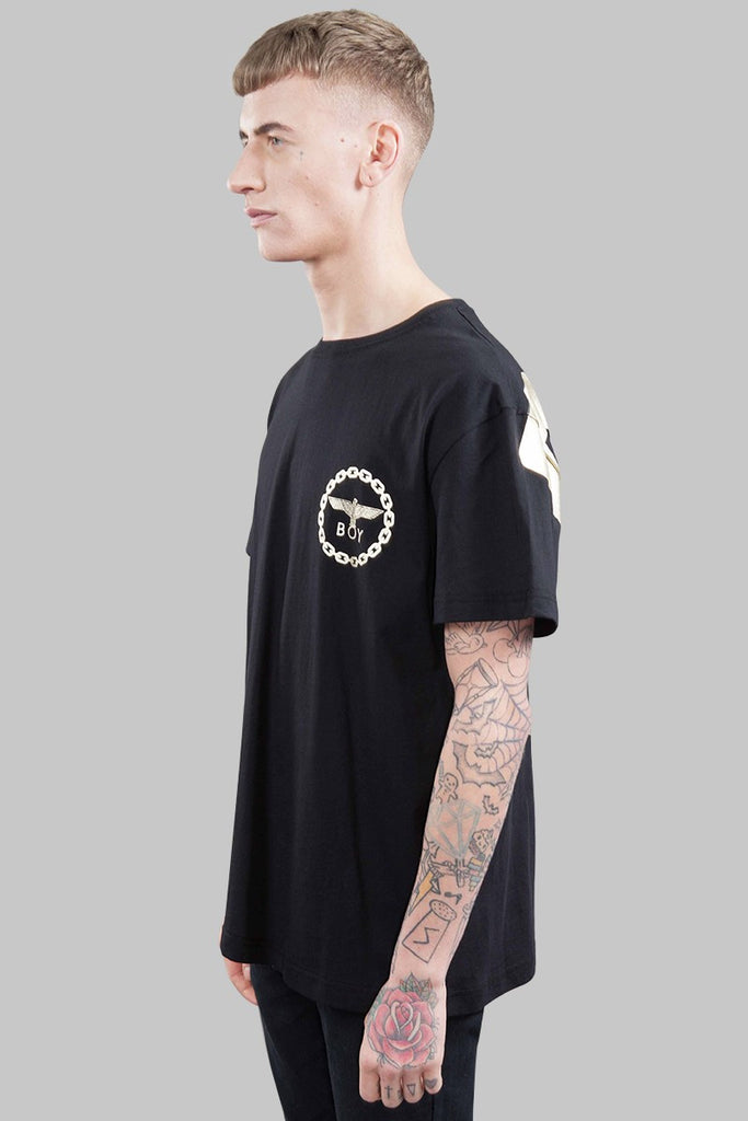 BOY LONDON BOY CHAIN PRINT T-SHIRT IN BLACK AND GOLD  - 3