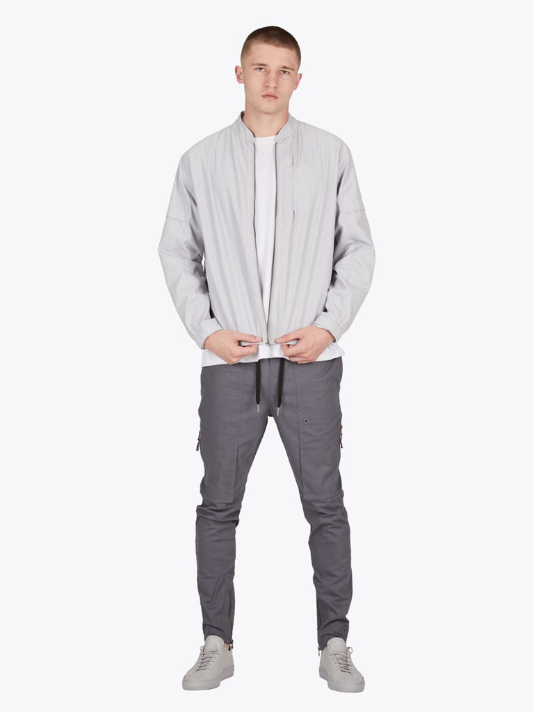 the best male fashion and streetwear style at boysco zanerobe trail bomber jacket in stone grey outfit