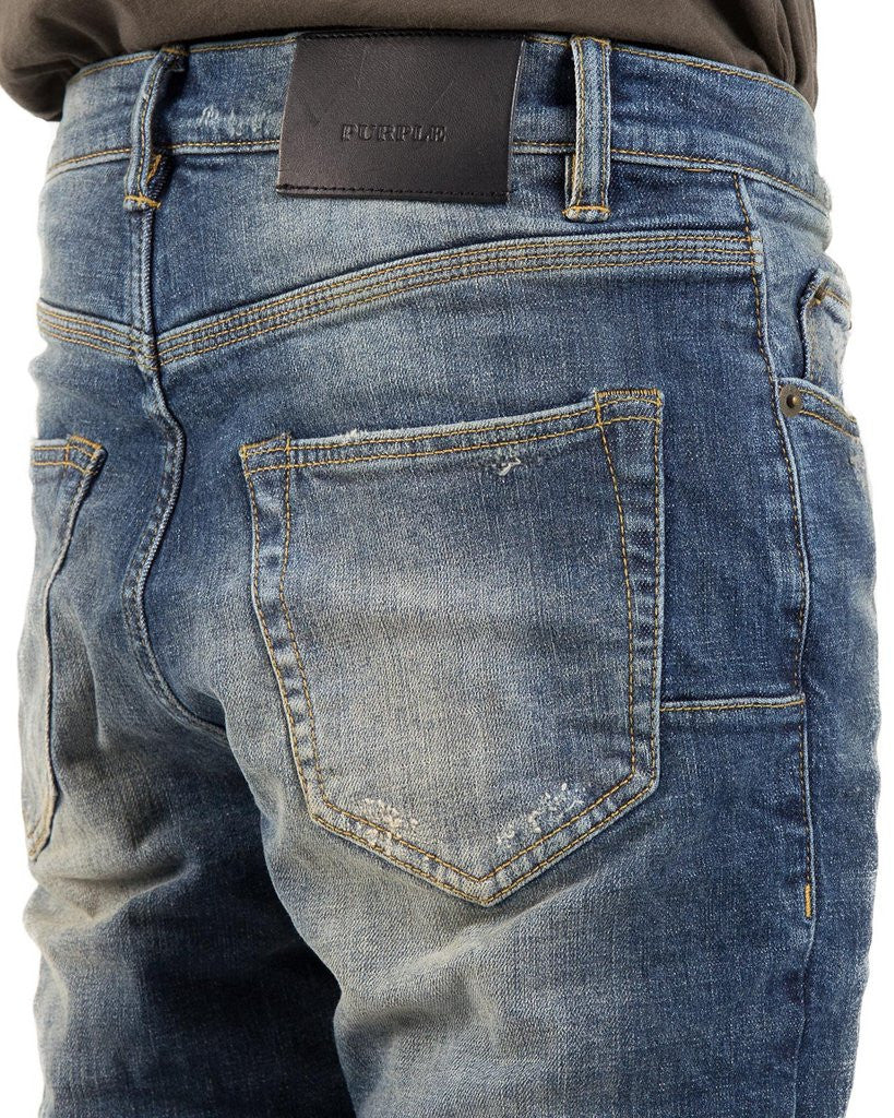 The Best Streetwear Brands and Luxury Urban Style in Vancouver PURPLE 001 Slim Fit Denim Jeans in Mid Blue Wash Detail 2