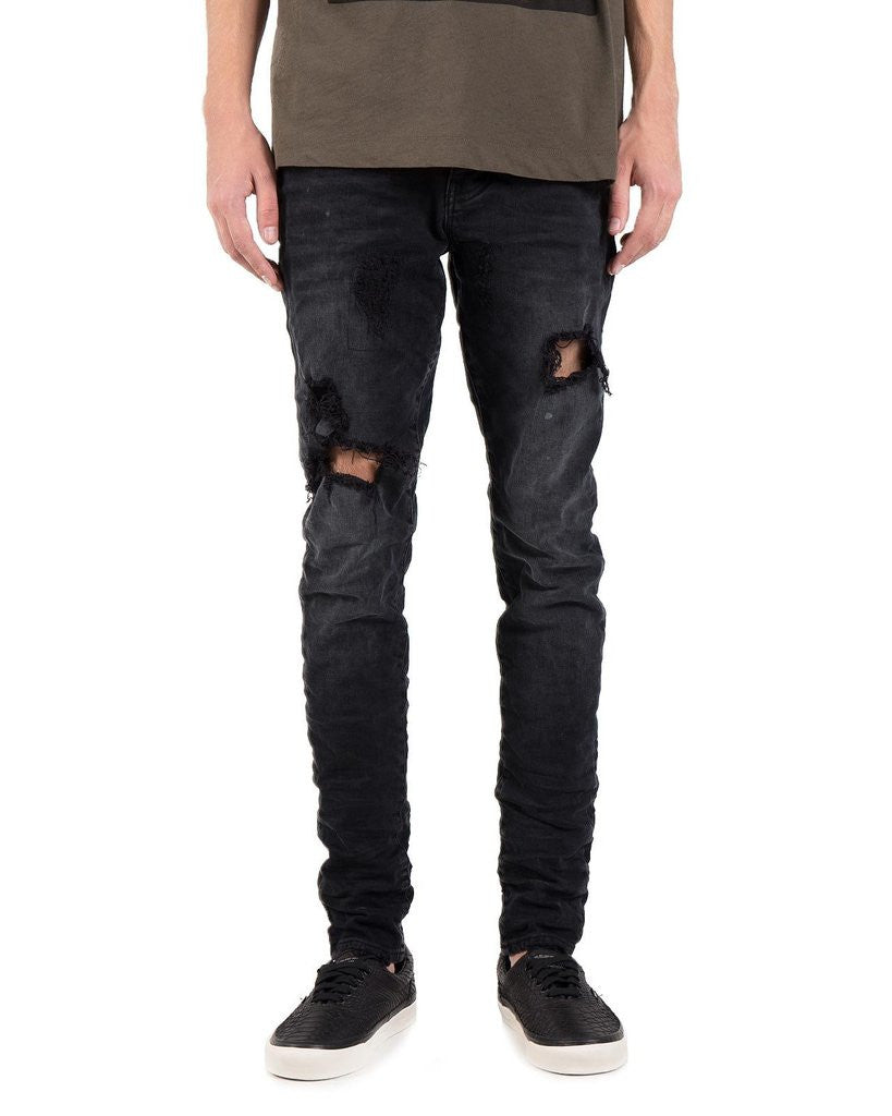 PURPLE 002 Dropped Fit Denim Jeans in Black Repair