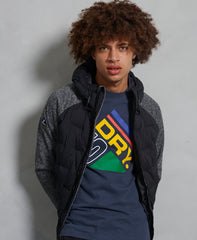SUPERDRY SONIC HYBRID ZIP THROUGH JACKET IN SONIC BLACK GRIT