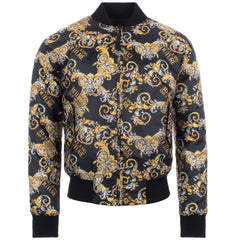 VERSACE JEANS COUTURE LOGO BAROQUE PRINT REVERSIBLE BOMBER JACKET