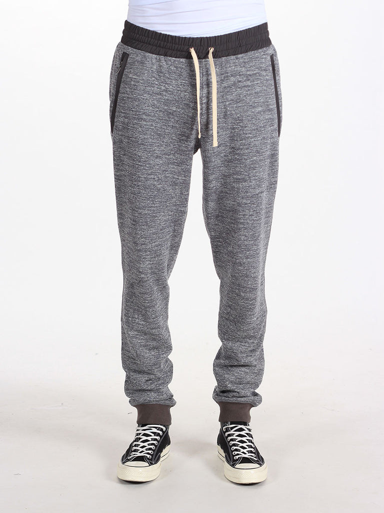 WORKSHOP SLIM FIT FRENCH TERRY SWEATPANTS IN HEATHERED GREY