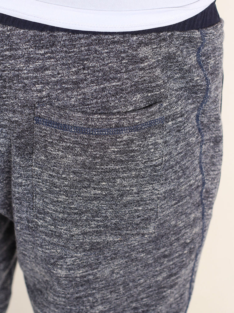 WORKSHOP SLIM FIT FRENCH TERRY SWEATPANTS IN HEATHERED BLUE