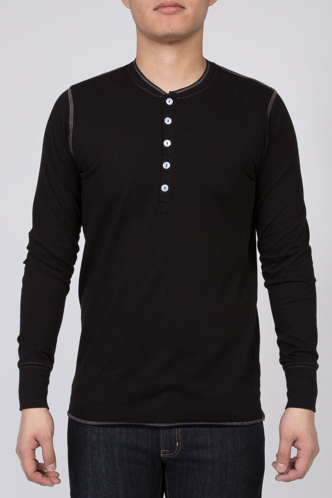 WORKSHOP BLACK LONG-SLEEVE COTTON-BLEND HENLEY