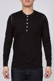 WORKSHOP BLACK LONG-SLEEVE COTTON-BLEND HENLEY  - 1