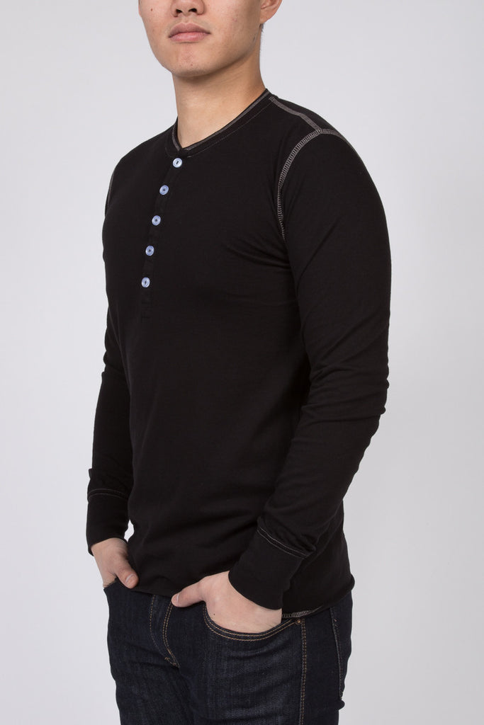 WORKSHOP BLACK LONG-SLEEVE COTTON-BLEND HENLEY  - 2