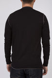 WORKSHOP BLACK LONG-SLEEVE COTTON-BLEND HENLEY  - 3