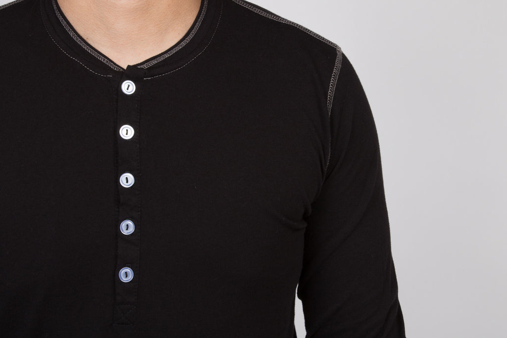 WORKSHOP BLACK LONG-SLEEVE COTTON-BLEND HENLEY  - 4