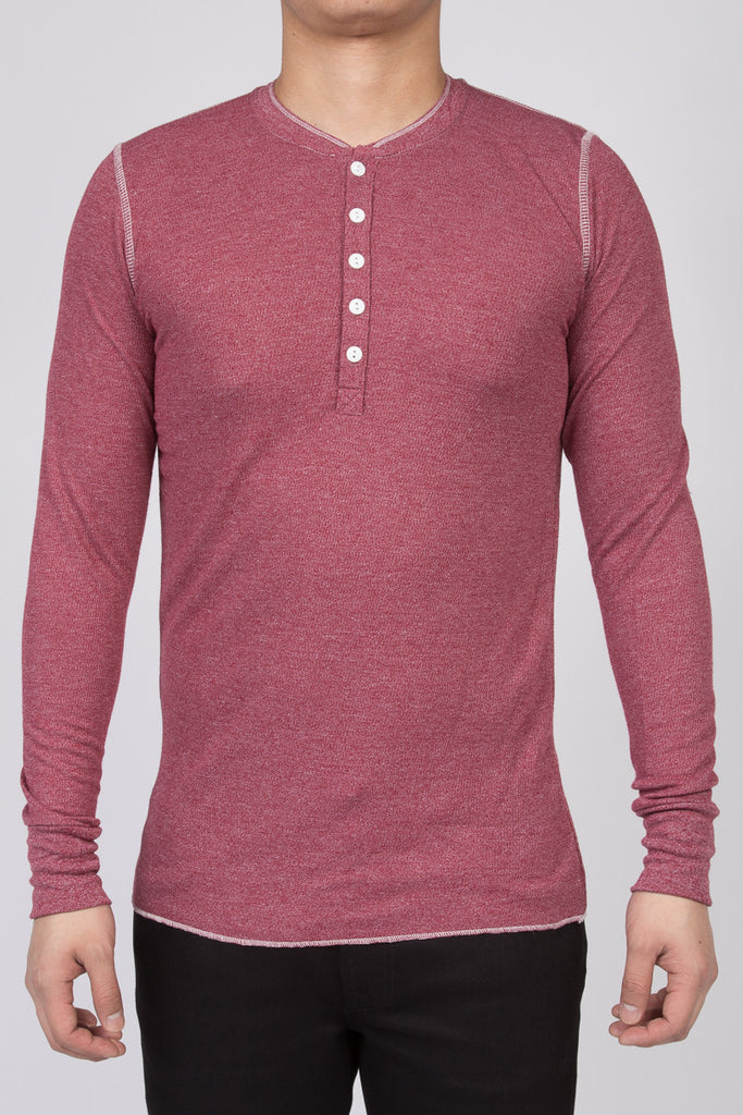 WORKSHOP BURGUNDY LONG-SLEEVE HENLEY  - 1