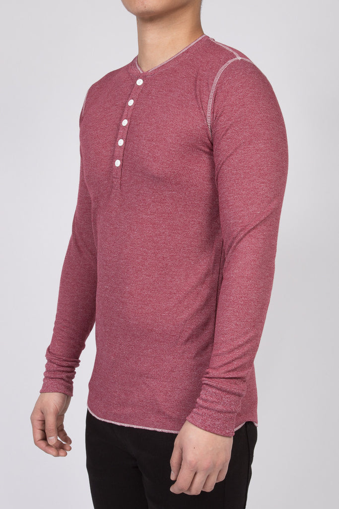 WORKSHOP BURGUNDY LONG-SLEEVE HENLEY  - 2