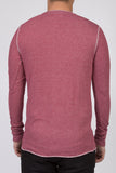 WORKSHOP BURGUNDY LONG-SLEEVE HENLEY  - 3