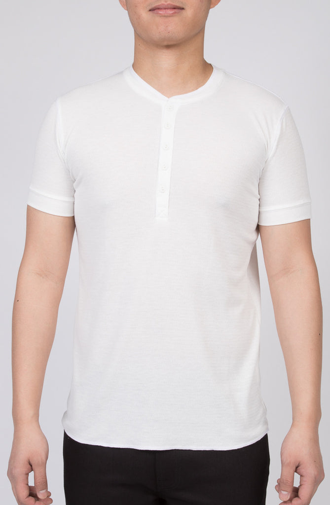 WORKSHOP CREAM SHORT-SLEEVE HENLEY  - 1