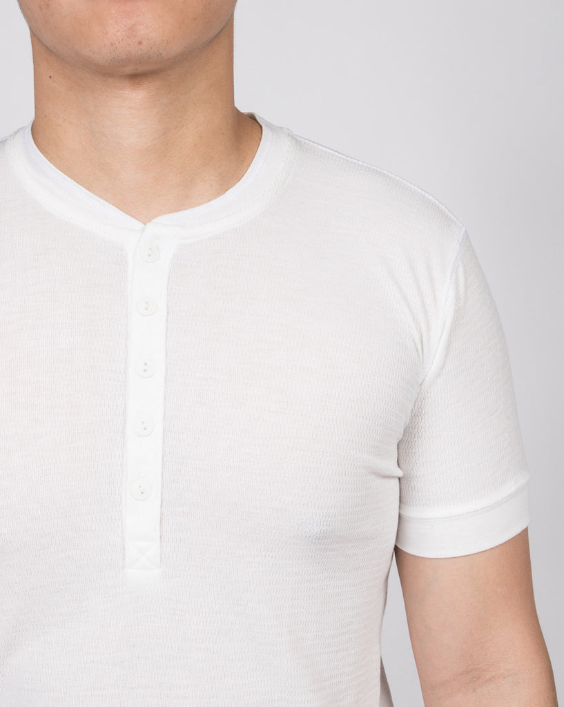 WORKSHOP CREAM SHORT-SLEEVE HENLEY  - 4