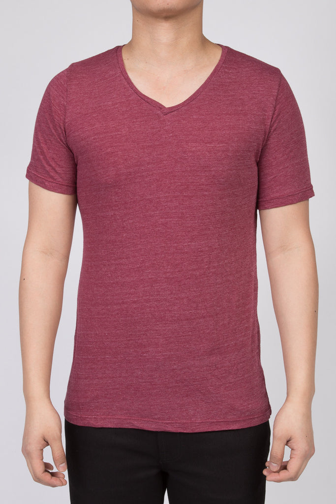 WORKSHOP HEATHERED BURGUNDY SHORT SLEEVE V-NECK TEE