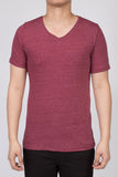 WORKSHOP HEATHERED BURGUNDY SHORT SLEEVE V-NECK TEE  - 1