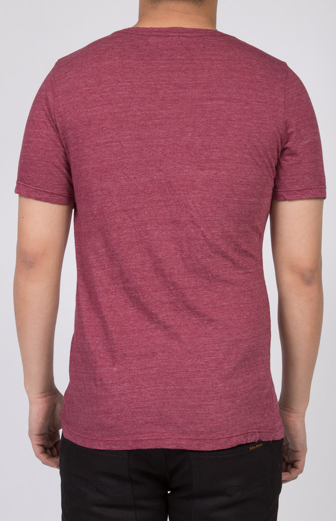 WORKSHOP HEATHERED BURGUNDY SHORT SLEEVE V-NECK TEE  - 3