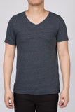 WORKSHOP HEATHERED NAVY SHORT SLEEVE V-NECK TEE  - 1