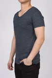 WORKSHOP HEATHERED NAVY SHORT SLEEVE V-NECK TEE  - 2